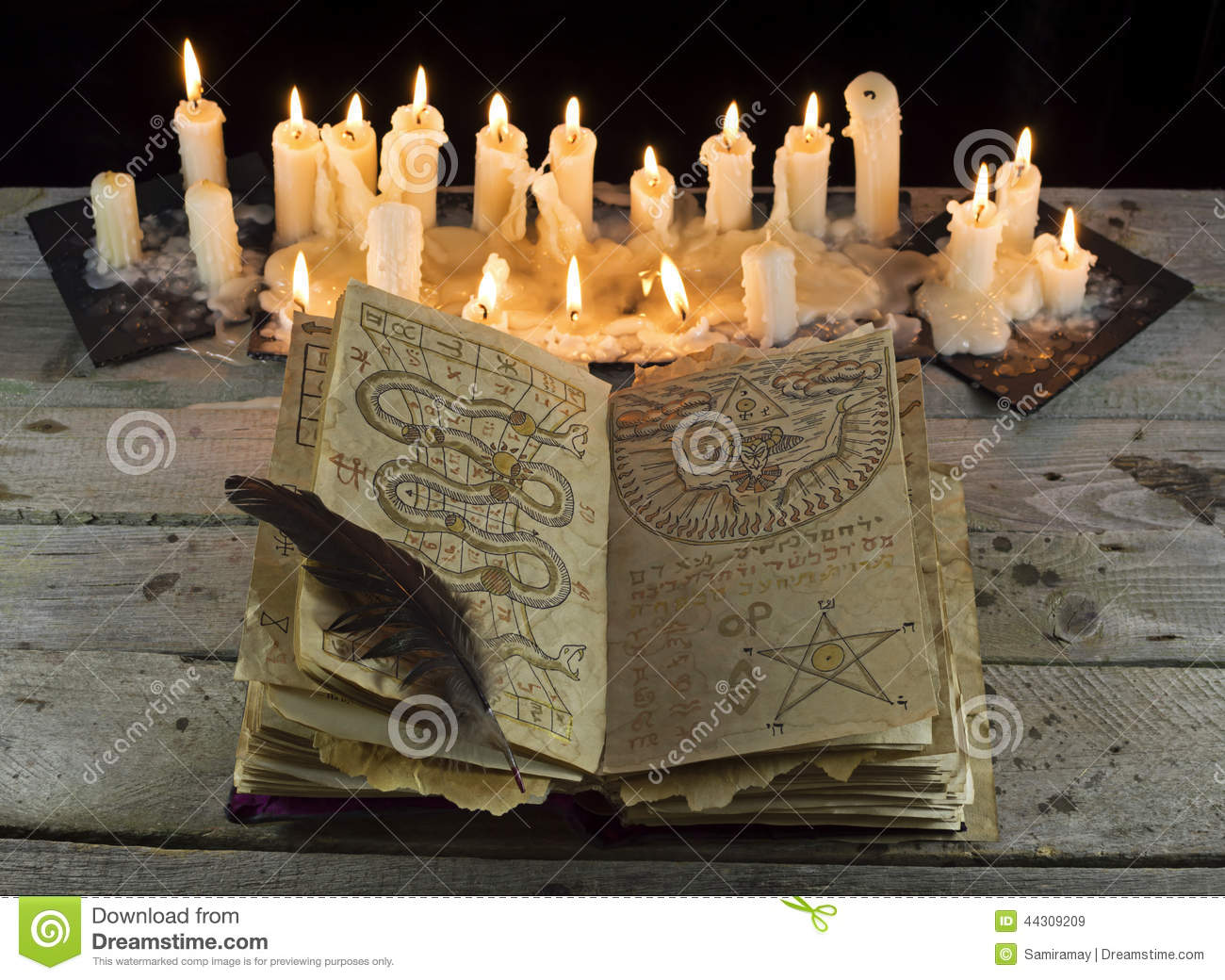 3d Wallpaper For Kitchen Open Grimoire Book With Candles Stock Photo Image 44309209