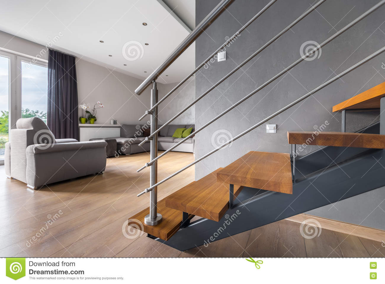 Open Staircase Design Open Plan Living Room With Staircase Stock Photo Image Of Grey