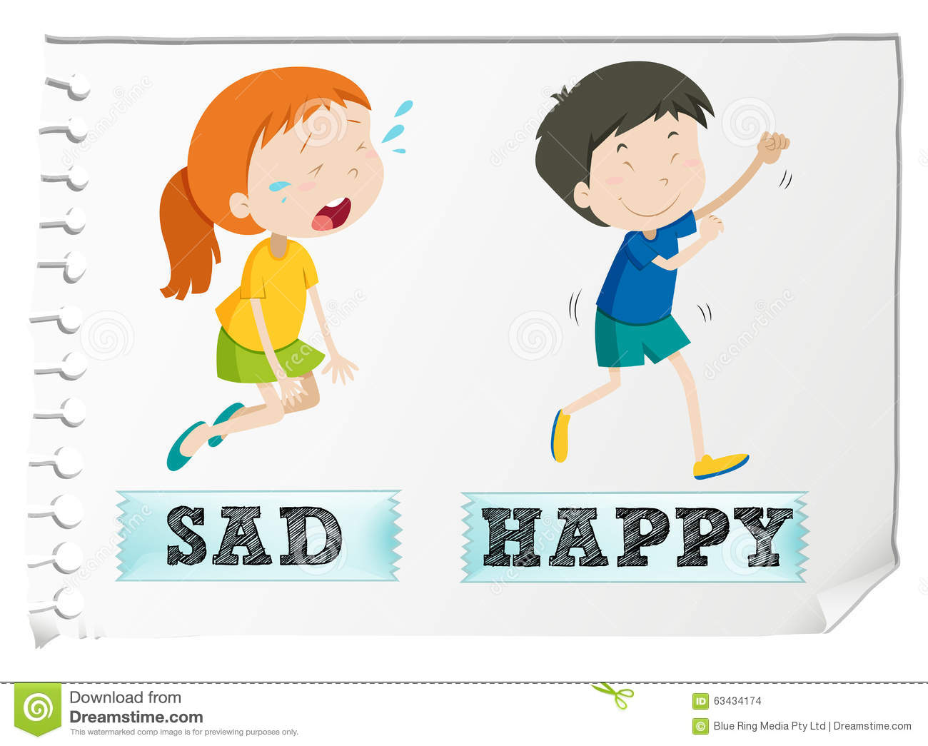Bad Set Up Synonym Opposite Adjectives With Sad And Happy Stock Vector