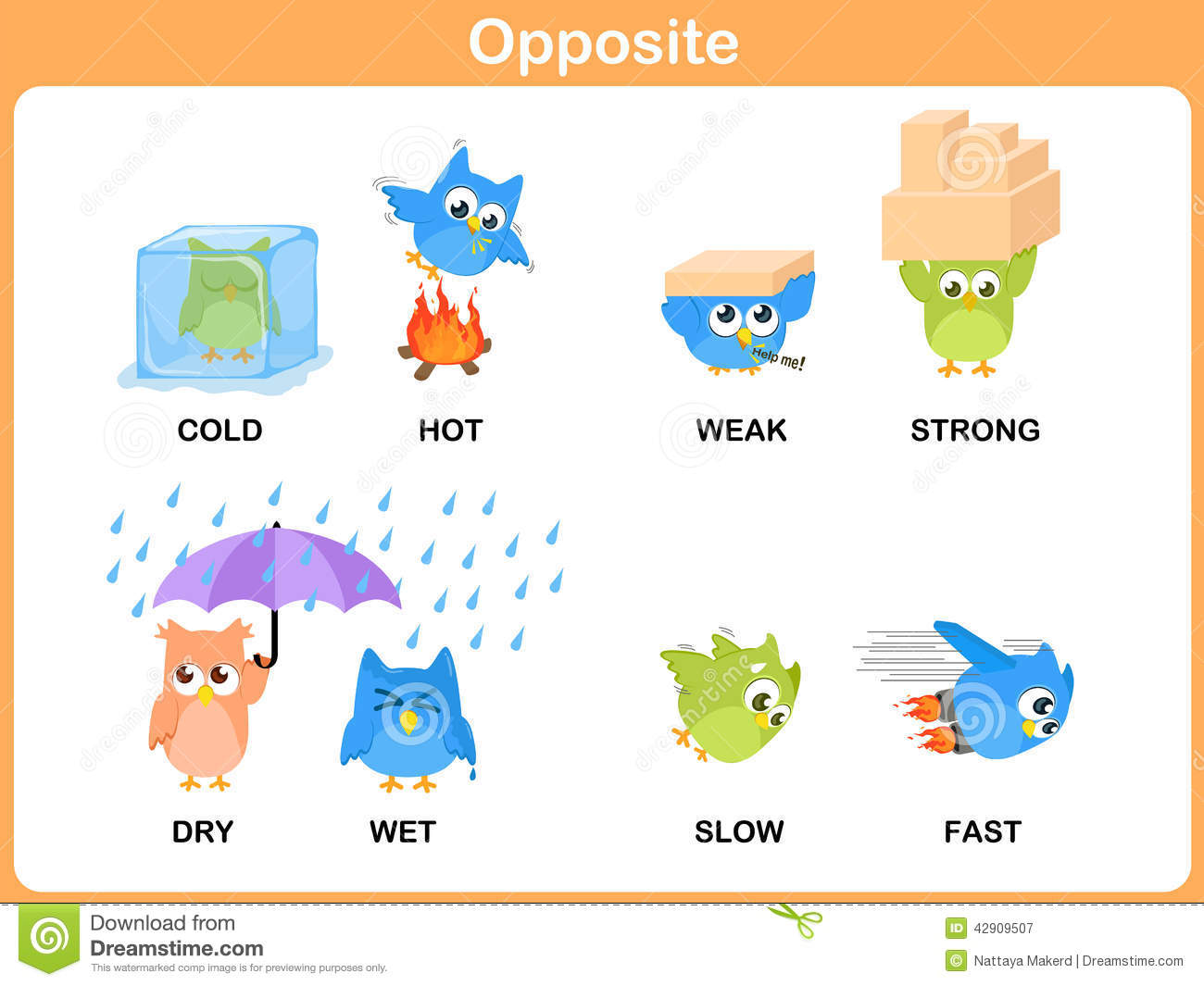 Bad Set Up Synonym Opposite Word For Preschool Stock Vector Illustration Of