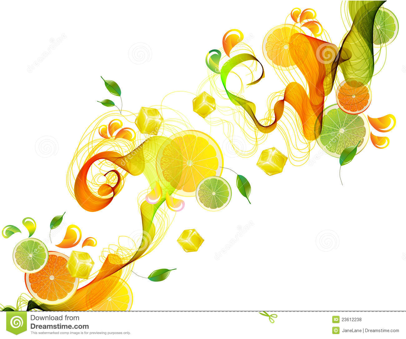 Tree With Leaves Falling Wallpaper Orange And Lime Juice Splash With Abstract Wave Stock