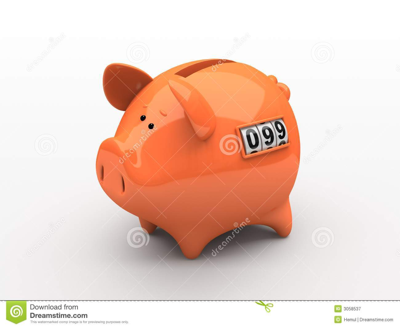 Piggy Bank With Counter Orange Piggy Bank Royalty Free Stock Photography Image