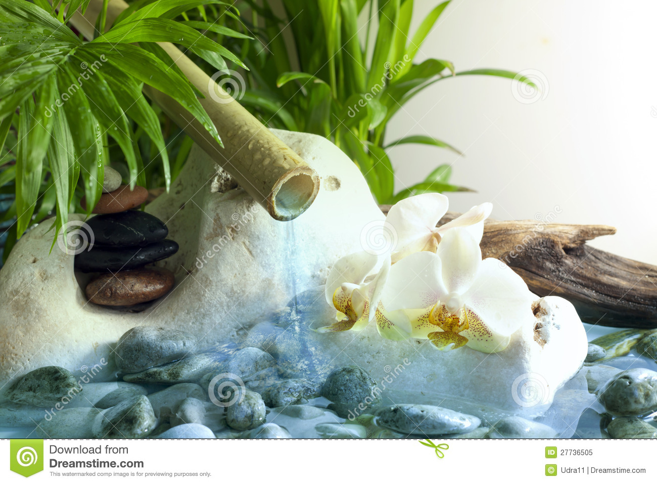 Water Falling Wallpaper Desktop Orchids And Zen Stones With Falling Water Stock Image