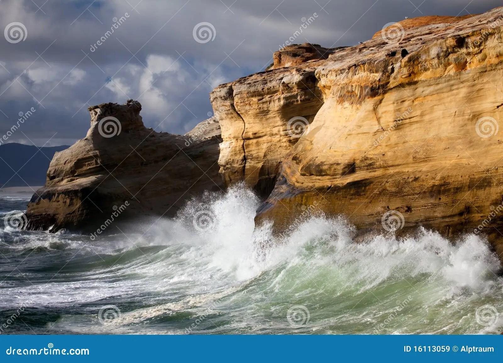 3d Wallpaper Ship Oregon Coast Landscape With Rough Seas Royalty Free Stock