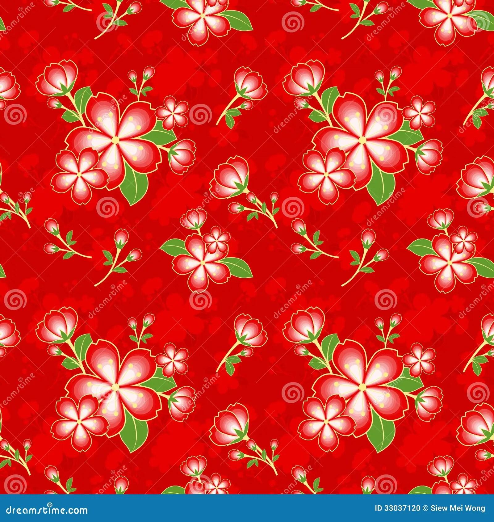 3d Cherry Blossom Wallpaper Oriental Flower Chinese Seamless Pattern Stock Photo