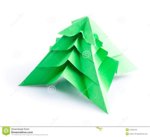 Green Origami Fir Tree Or Christmas Tree On White Origami Christmas Tree Card