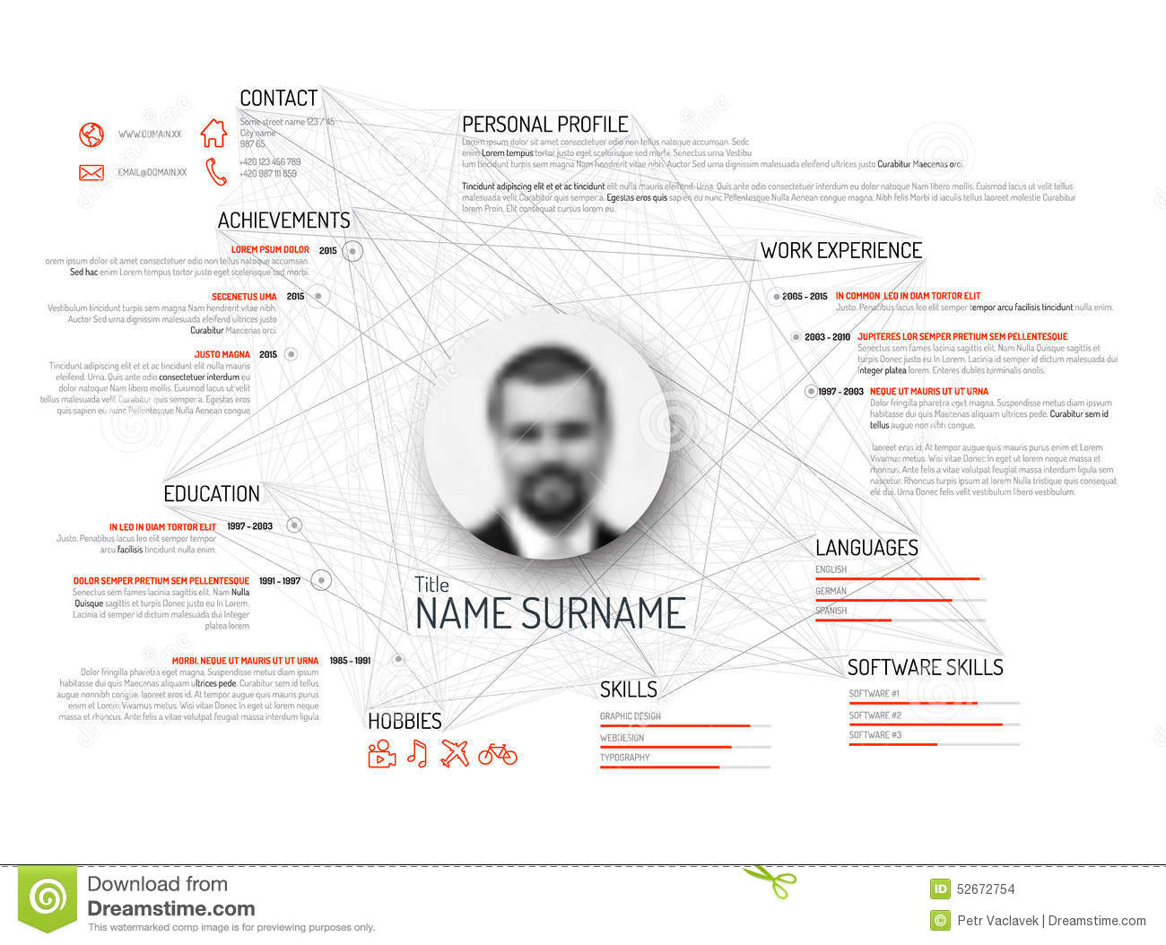 Att Architekten Original Cv Resume Template Stock Vector Image 52672754