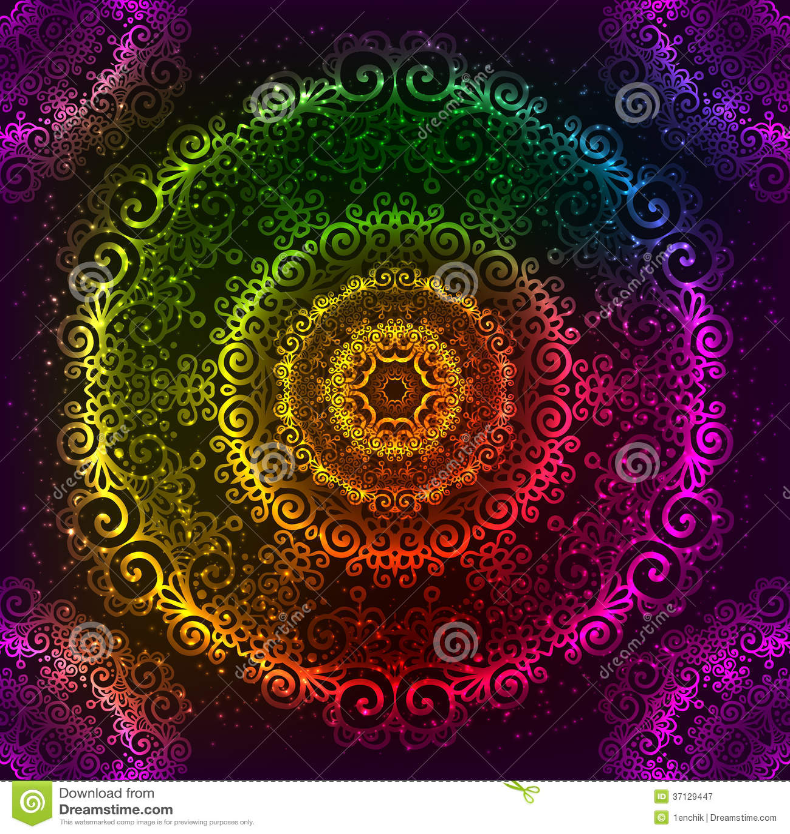 3d Rainbow Psychedeli Wallpaper Ornate Vector Rainbow Neon Mandala Royalty Free Stock