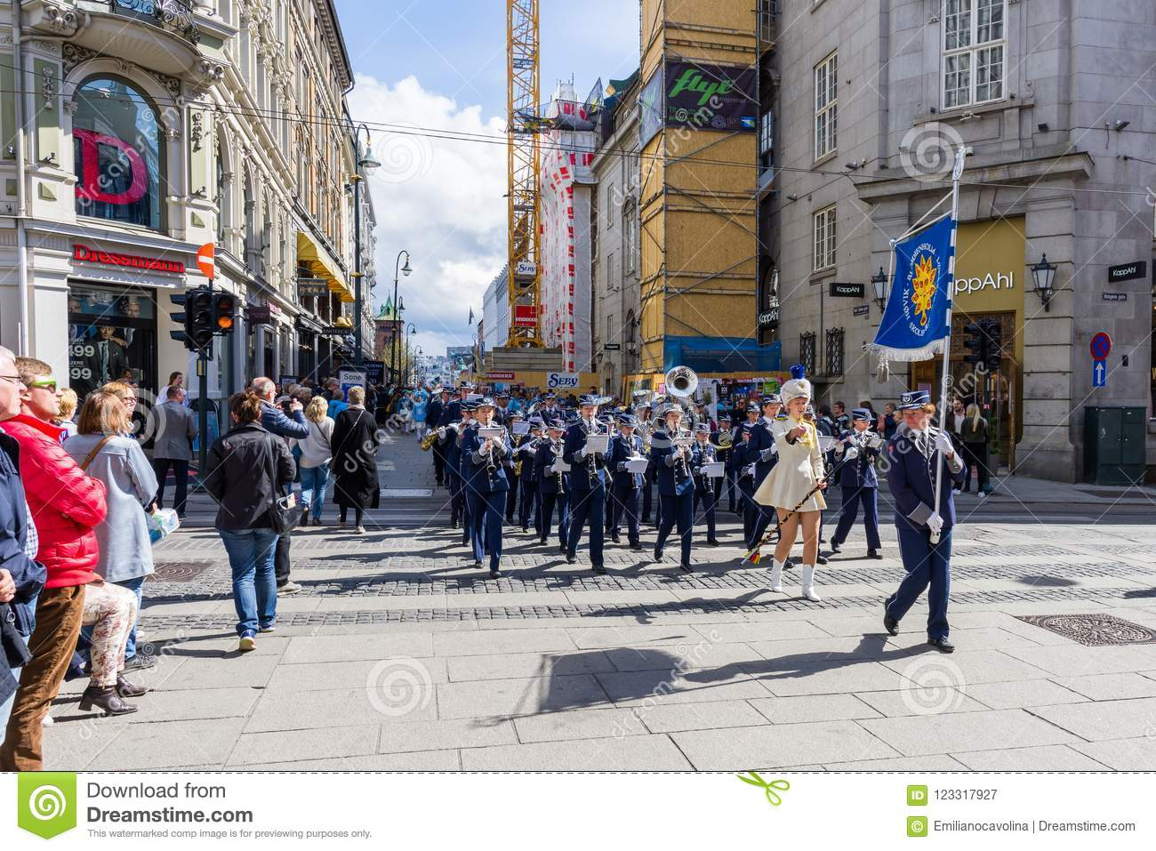 Norwegian Oslo Musical Bands Parade Through The Streets Of Oslo Norway Editorial