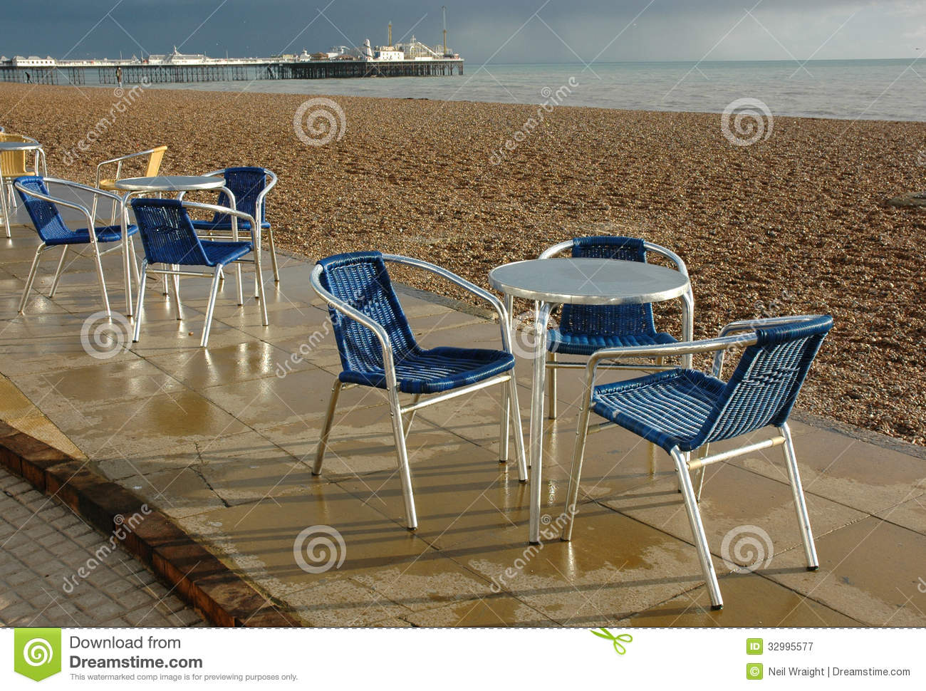 Cafe Chairs Brighton Beach Royalty Free Stock Photography