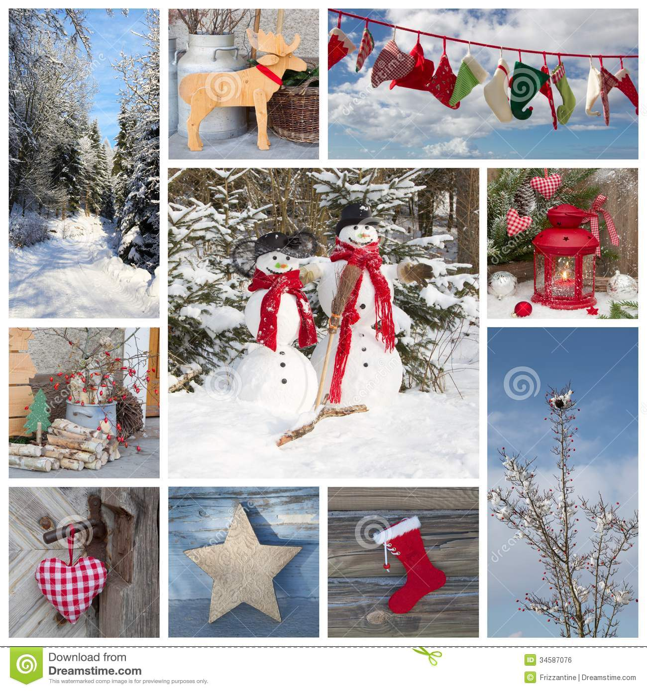 Outdoor christmas decoration in country style in blue and red for a
