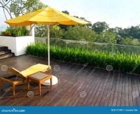 Outdoor patio in wood deck stock photo. Image of ...