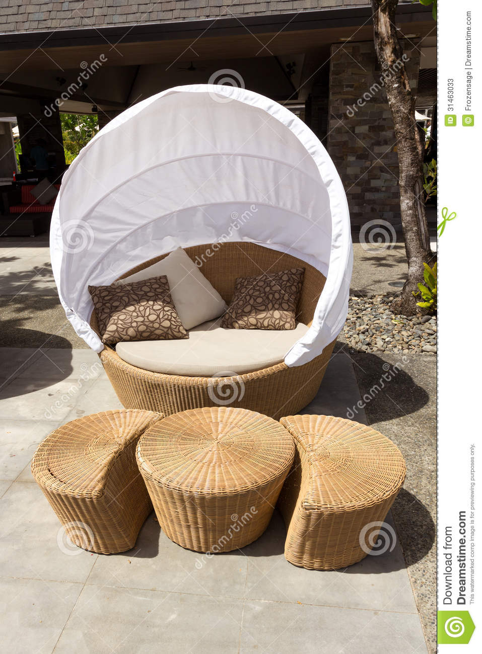 Outdoor Sofa Chair With Cover Stock Image Image 31463033