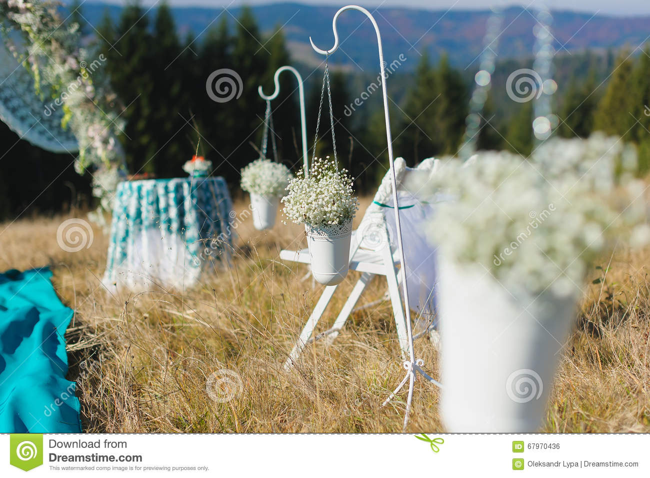 Outdoor wedding ceremony chair decorations - Outdoor Wedding Chair Decorations Outdoor Wedding Ceremony Scene On A Mountain Slope Download