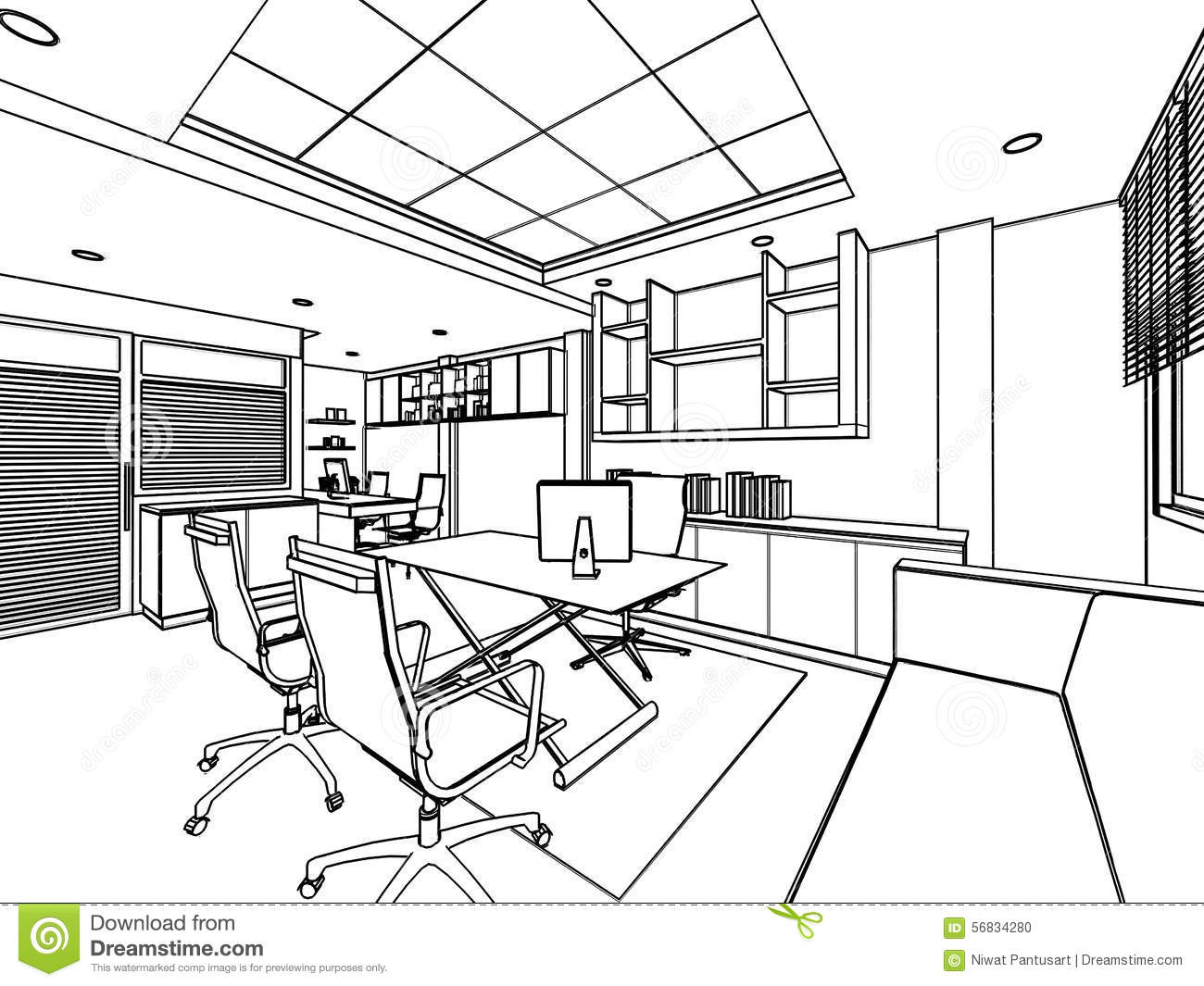 Raum Zeichnen Outline Sketch Of A Interior Stock Illustration Image