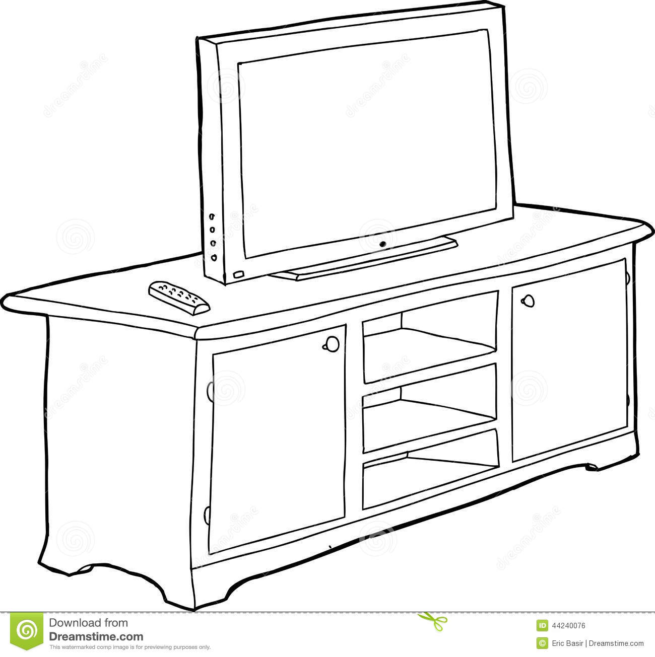 Tv Schrank Englisch Outlined Cabinet And Tv Stock Vector - Image: 44240076
