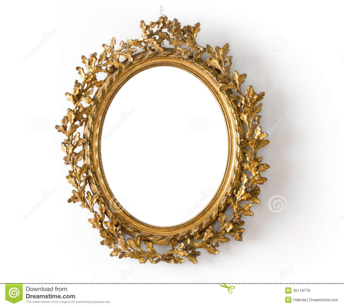 Oval Mirror Wood Frame Oval Mirror In A Gold Frame Stock Image Image Of Wood