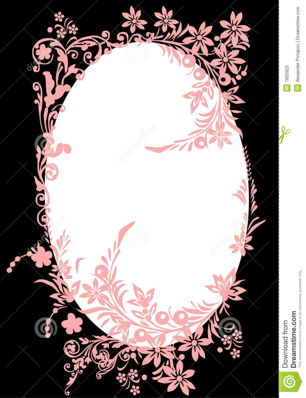 Purple And Black Damask Wallpaper Oval Pink Frame With Curles On Black Stock Illustration