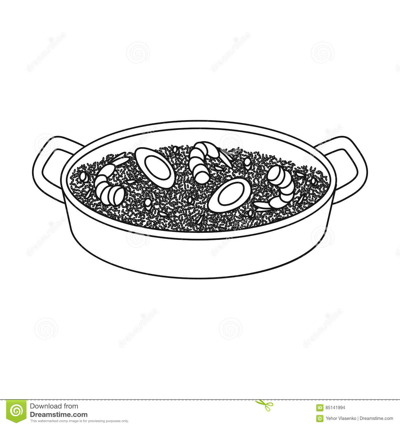 Paella on white vector stock vector image 68986544 - Paella On White Vector Stock Vector Image 68986544 Paella Icon In Outline Style Isolated On Download
