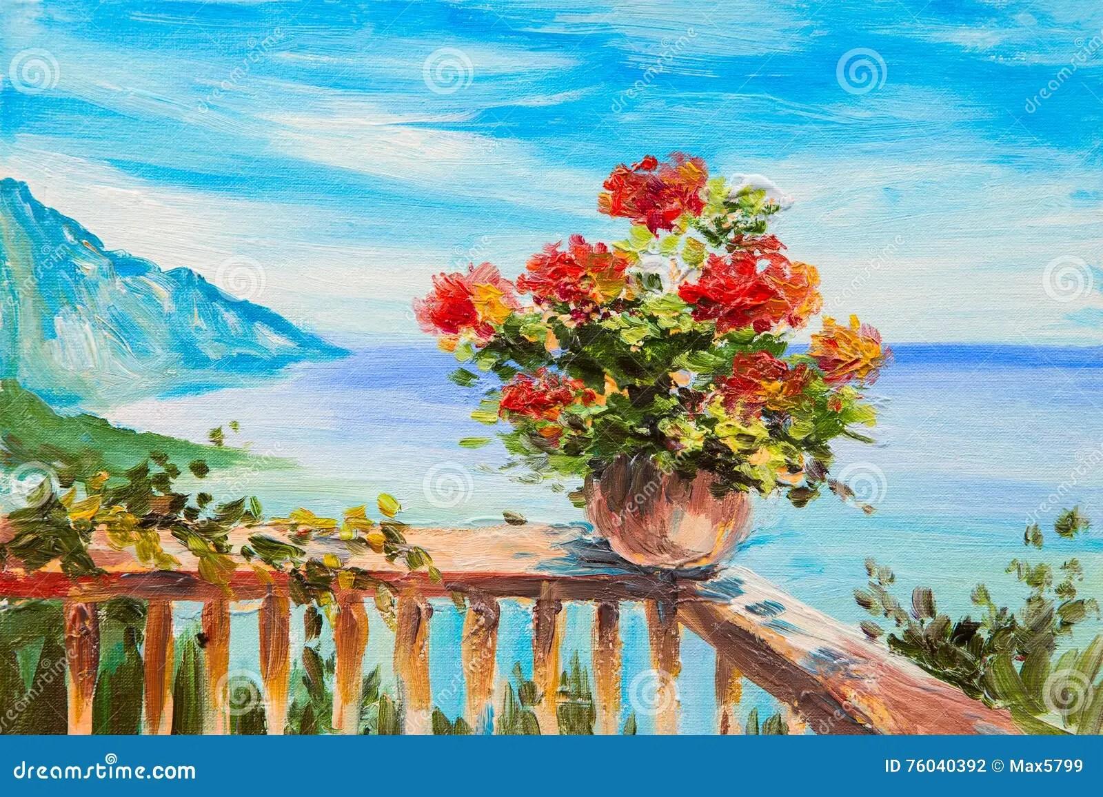 Pittura Olio Fiori | Fiori In Vaso Pittura A Olio Illustrazione Di Stock