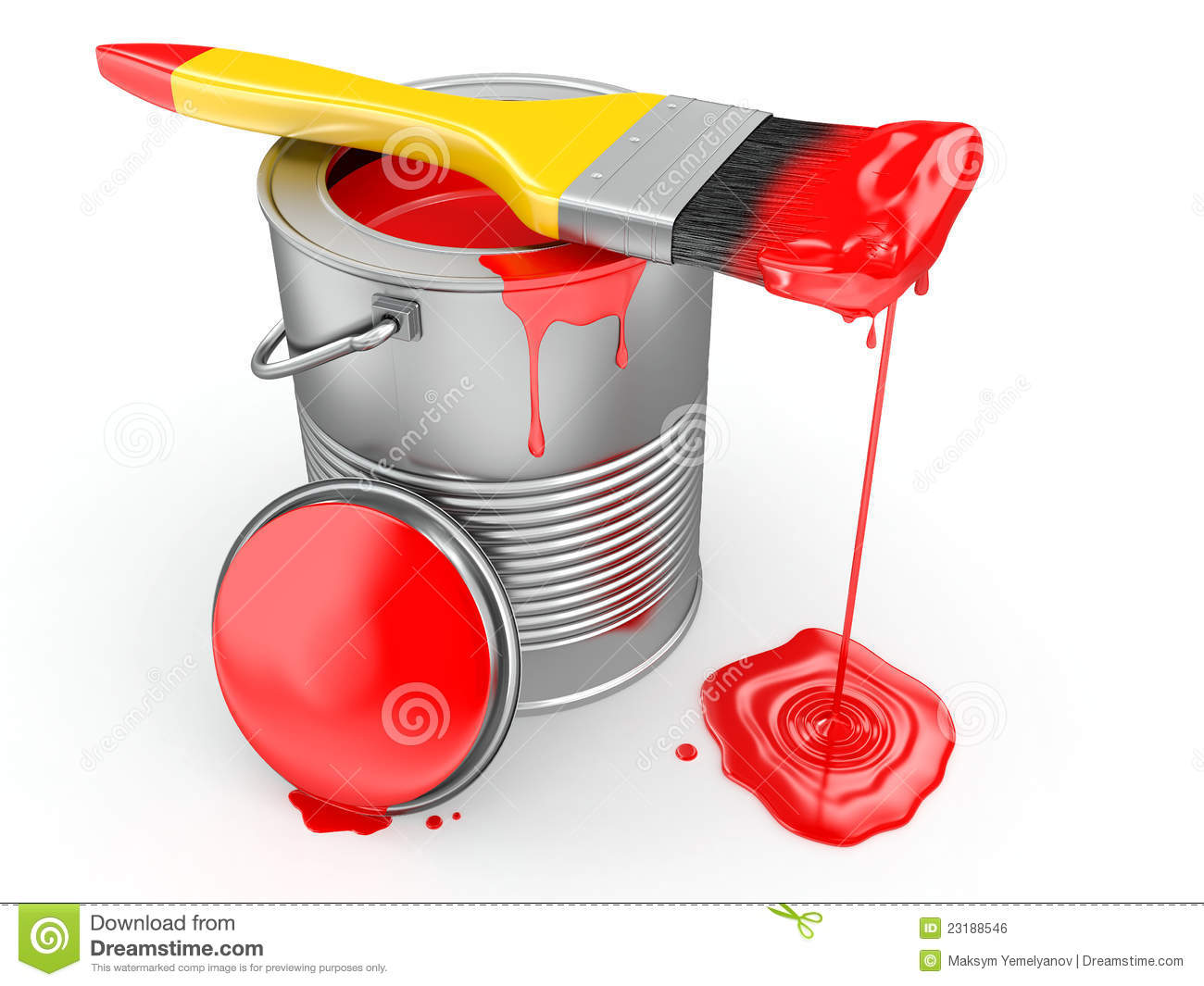 Pintura Antigravilla A Brocha Paint Can And Paintbrush. 3d Stock Illustration - Image