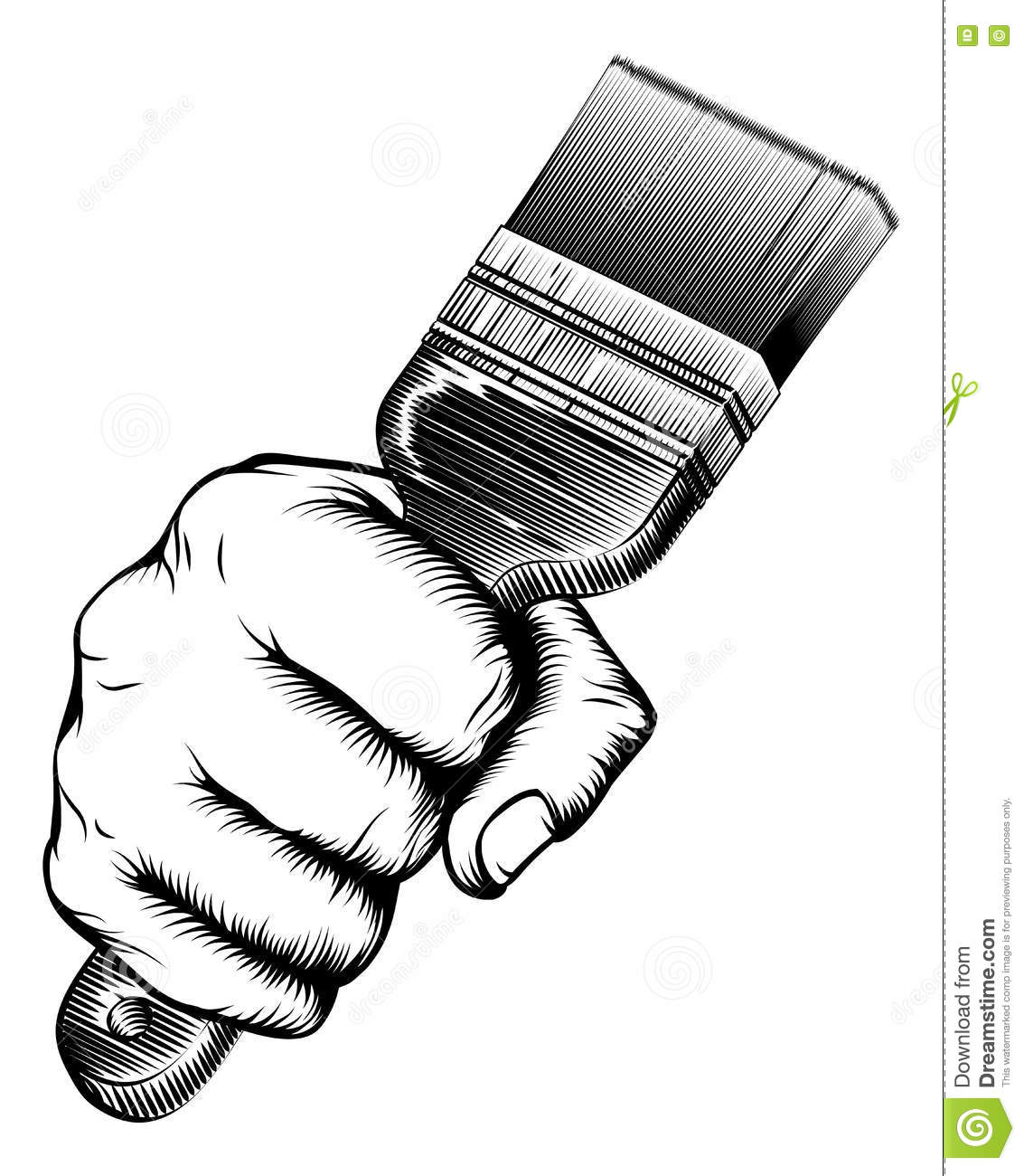 Malerpinsel Clipart Woodcut Fist Hand Holding Paintbrush Vector Illustration