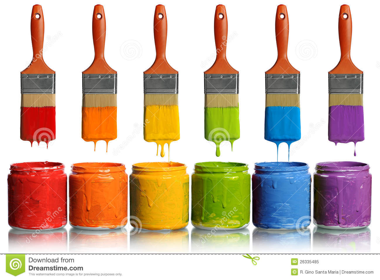 Malerpinsel Clipart Paintbrushes Dripping Into Paint Containers Royalty Free