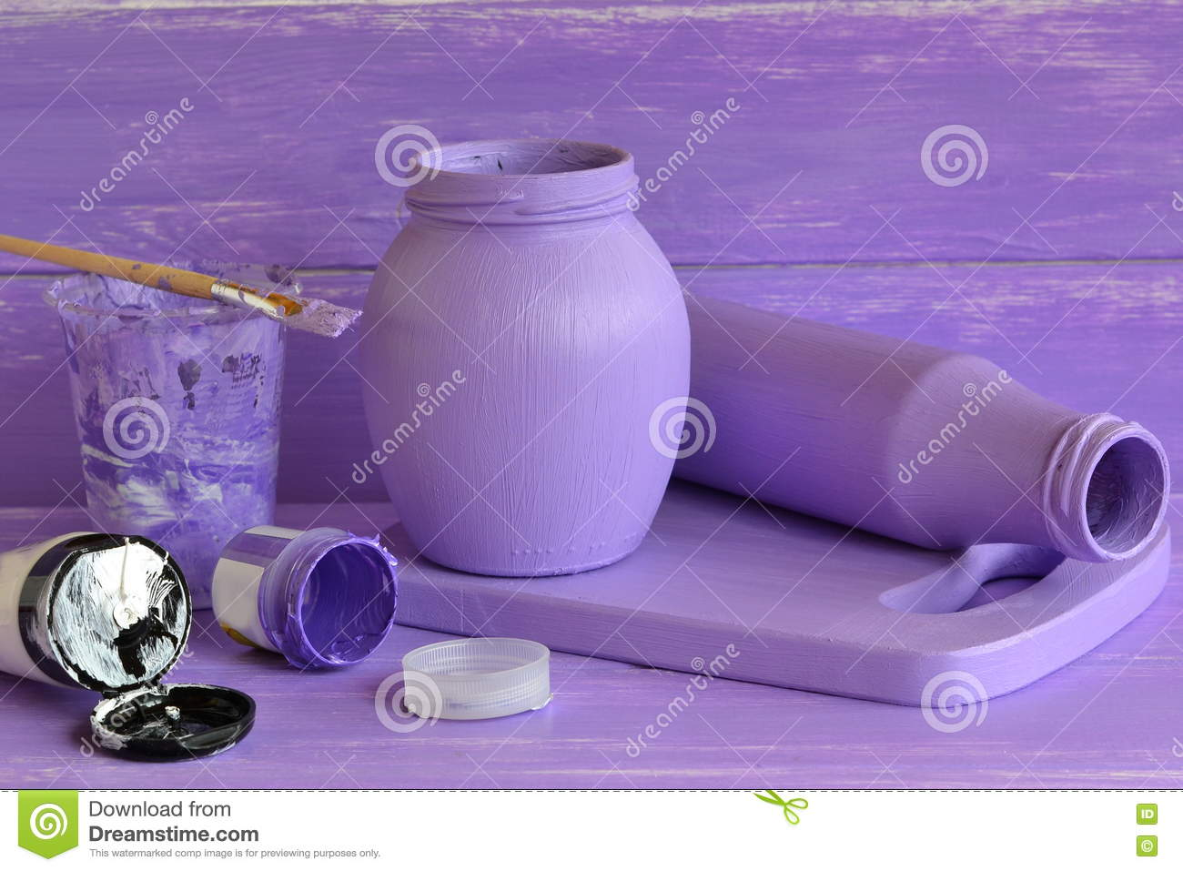 Interior Decoration With Waste Material Painted Glass Jars Tubes Of Acrylic Paint Brush Interior
