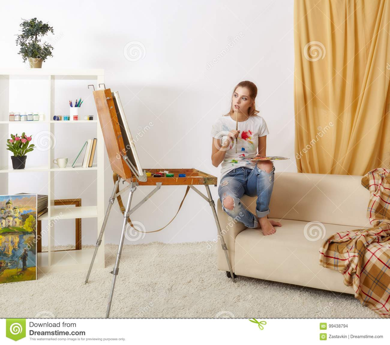 Sofa Palette Painter Female With Wooden Sketchbook Sitting On Sofa And Painting