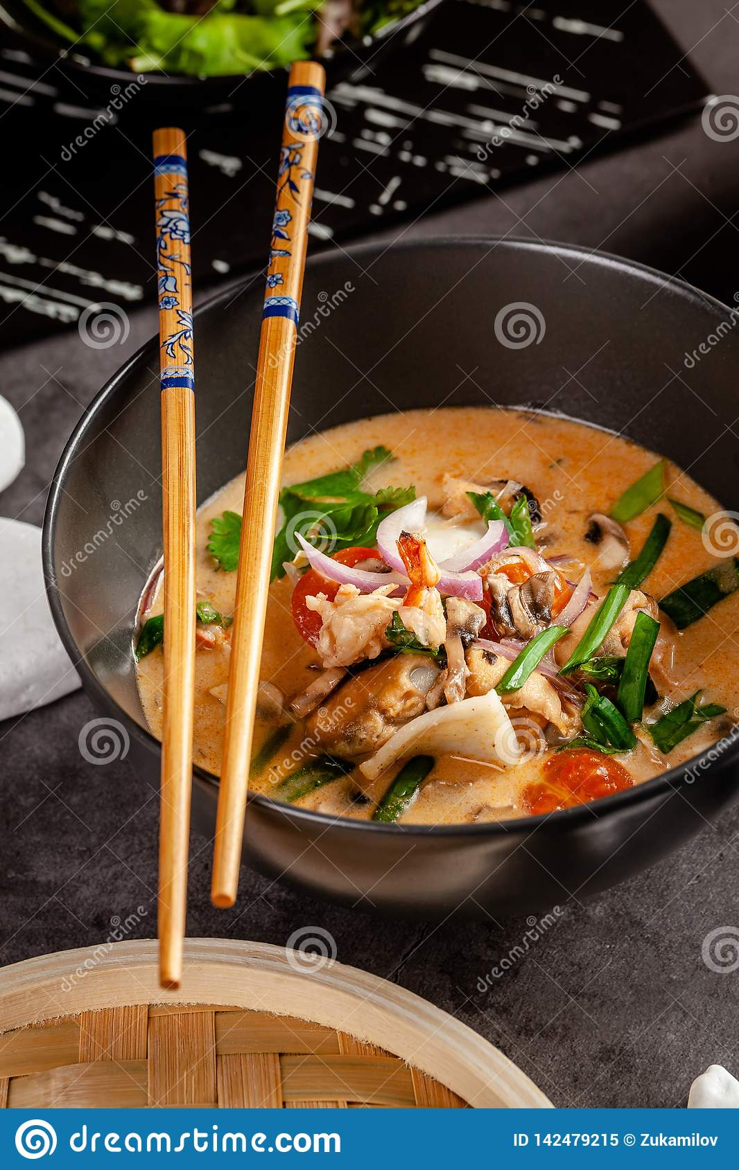 Cuisine Yam Pan Asian Cuisine Concept Japanese Miso Soup Tom Yam Kung With