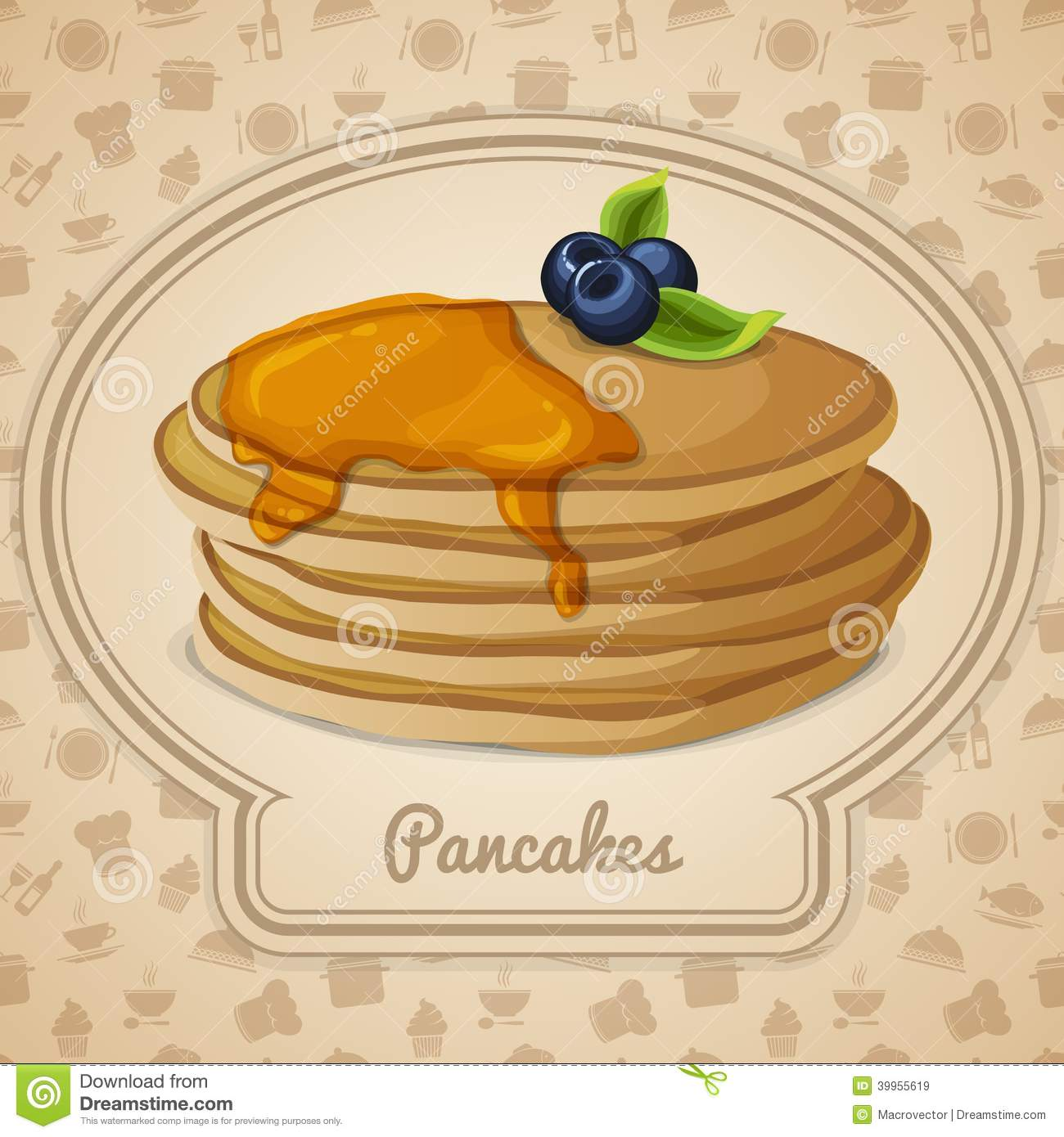 Restaurant Mint Pancakes With Syrup Poster Stock Vector. Image Of