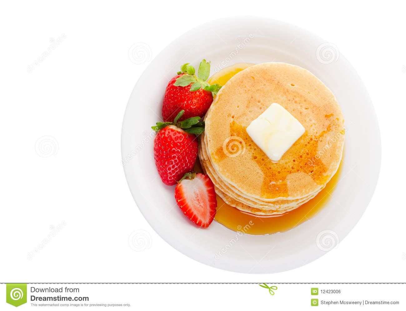 Plate With Food Top View Pancakes Top View Stock Photo Image Of Dessert Flapjacks