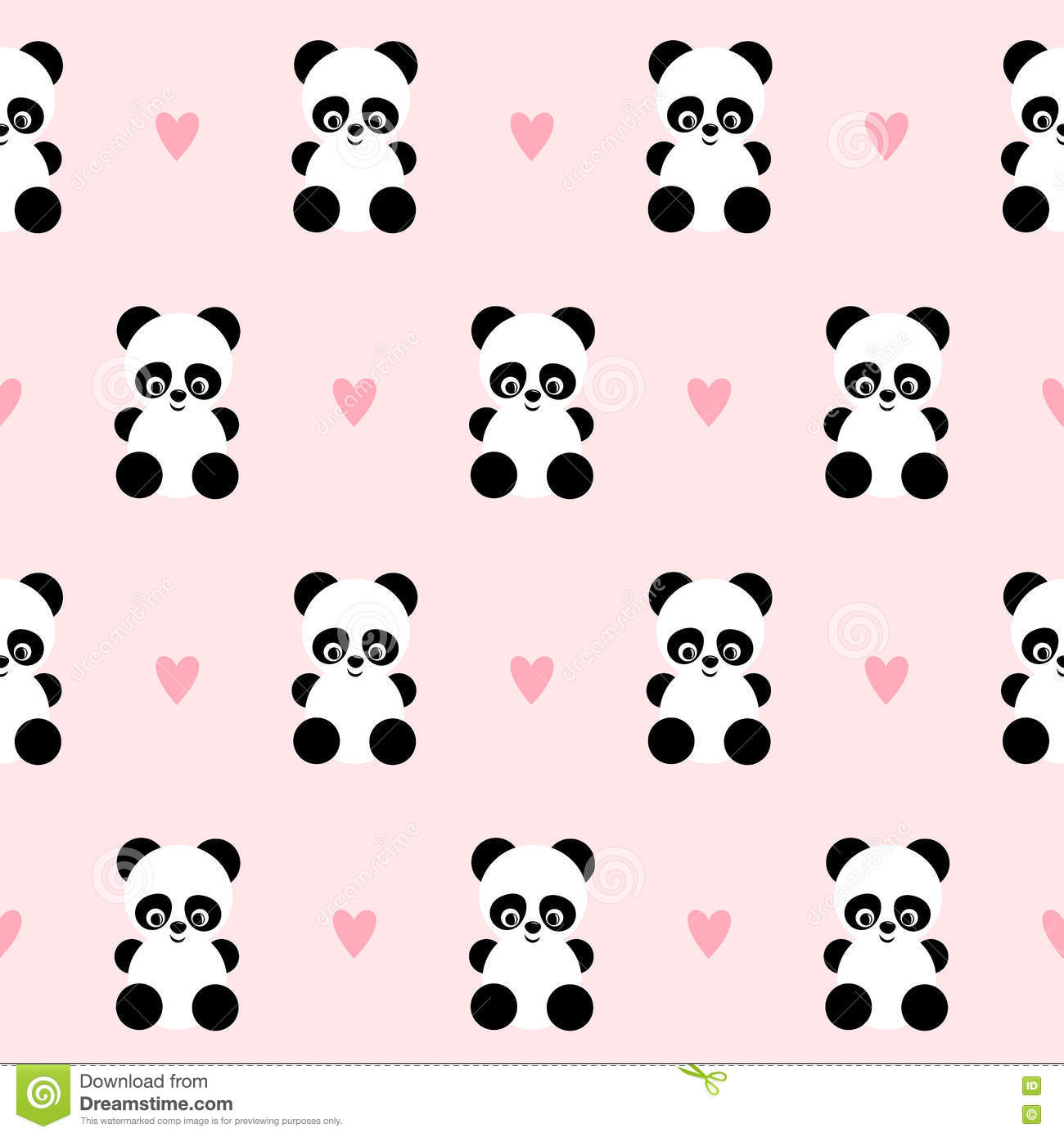 Pink Girl Cartoon Wallpaper Panda With Hearts Seamless Pattern On Pink Background