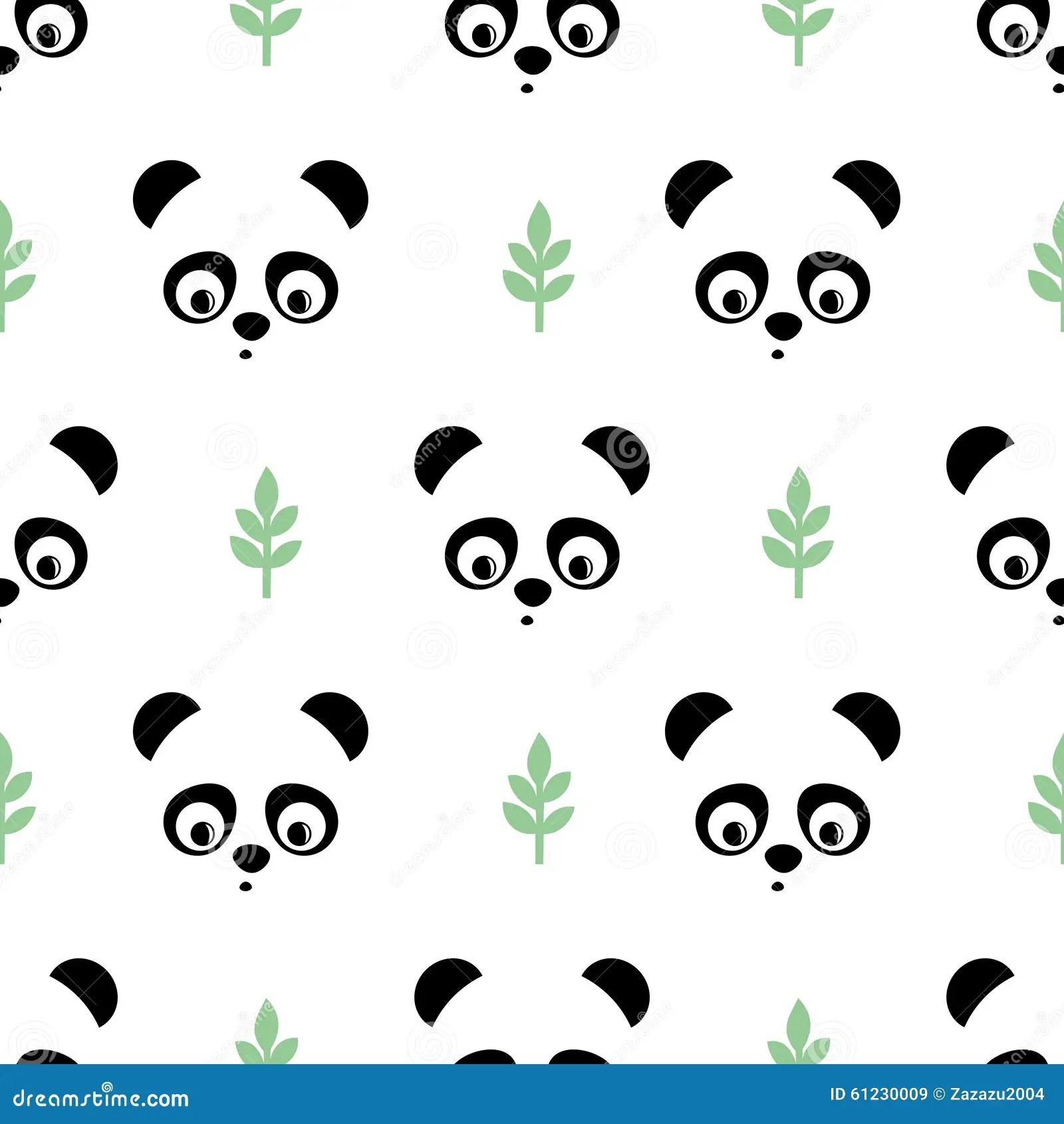 Starbucks Wallpaper Cute Panda Seamless Pattern With Green Twigs Cute Vector