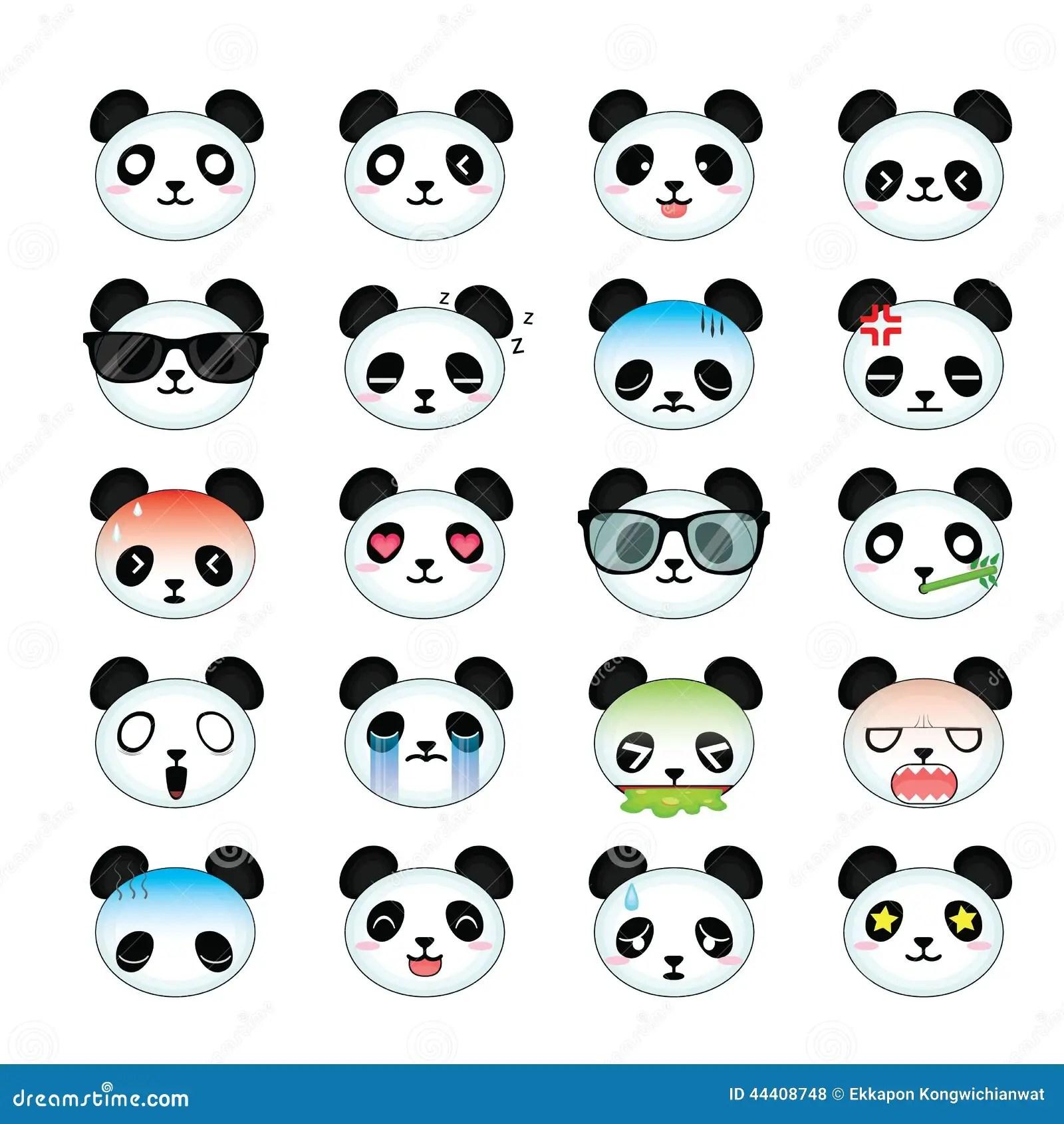 Cute Nail Arts Wallpaper Panda Smiley Face Icons Set Stock Illustration Image
