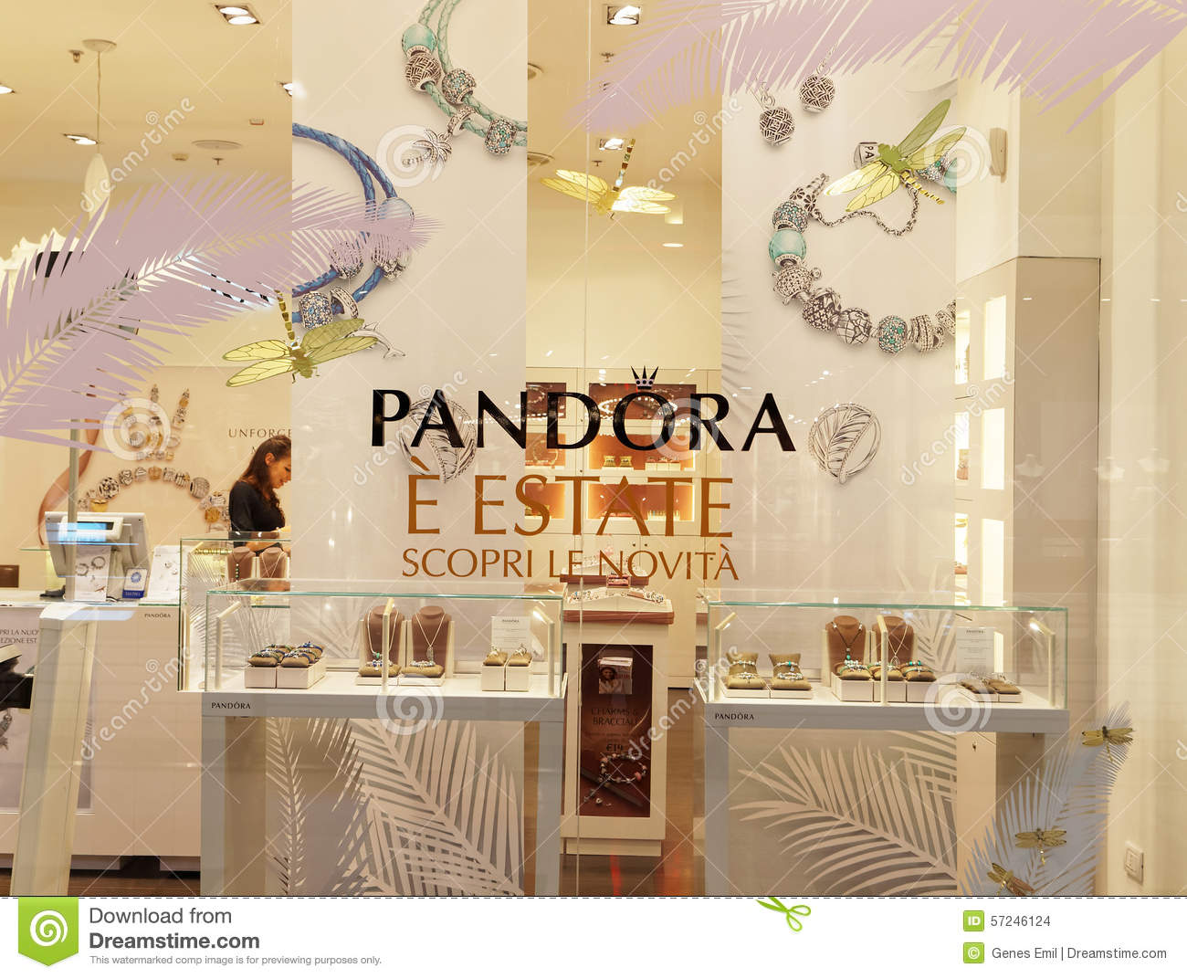 Italy Design Jewelry Pandora Jewelry Store In Rome Italy Editorial Stock Image