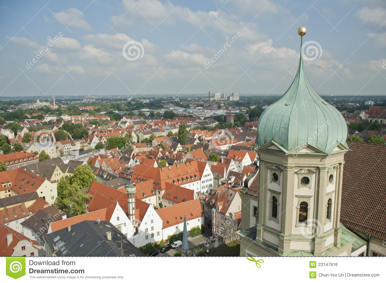 Elements Augsburg Panoramic City Skyline In Augsburg Germany Royalty Free