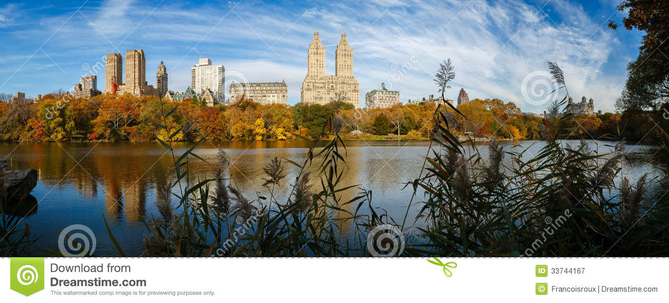 Central Park In Fall Wallpaper Panoramic View Of Central Park Lake At Fall Stock Image