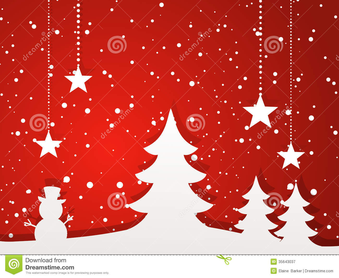 Live Winter Snow Fall Background Wallpaper Paper Christmas Tree And Winter Scene Red Stock Vector
