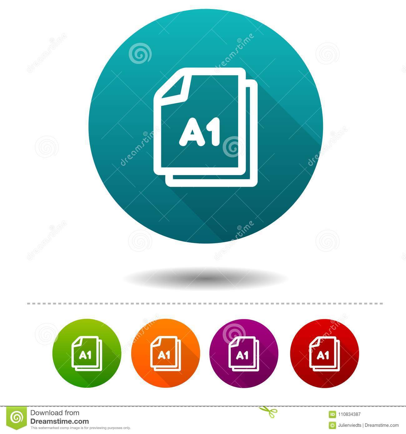 A A1 Din Paper Size A1 Icon Document Din Symbol Sign Web Button Stock