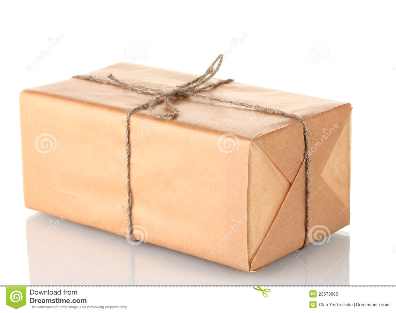 Bild Länglich Parcel Wrapped In Brown Paper Tied With Twine Royalty Free
