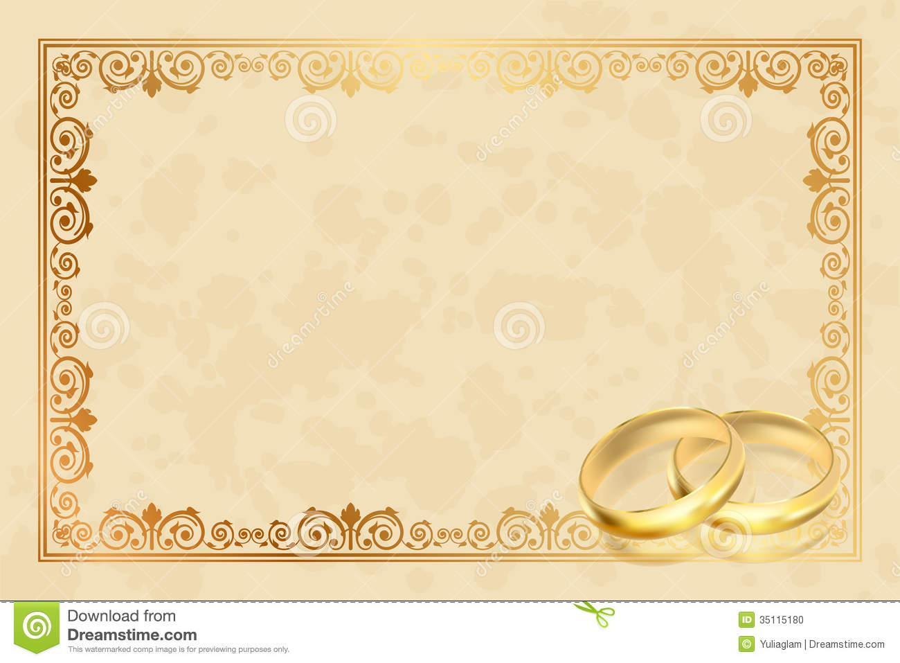 Ring Ceremony Hd Wallpaper Parchment Frame With Gold Rings Stock Vector