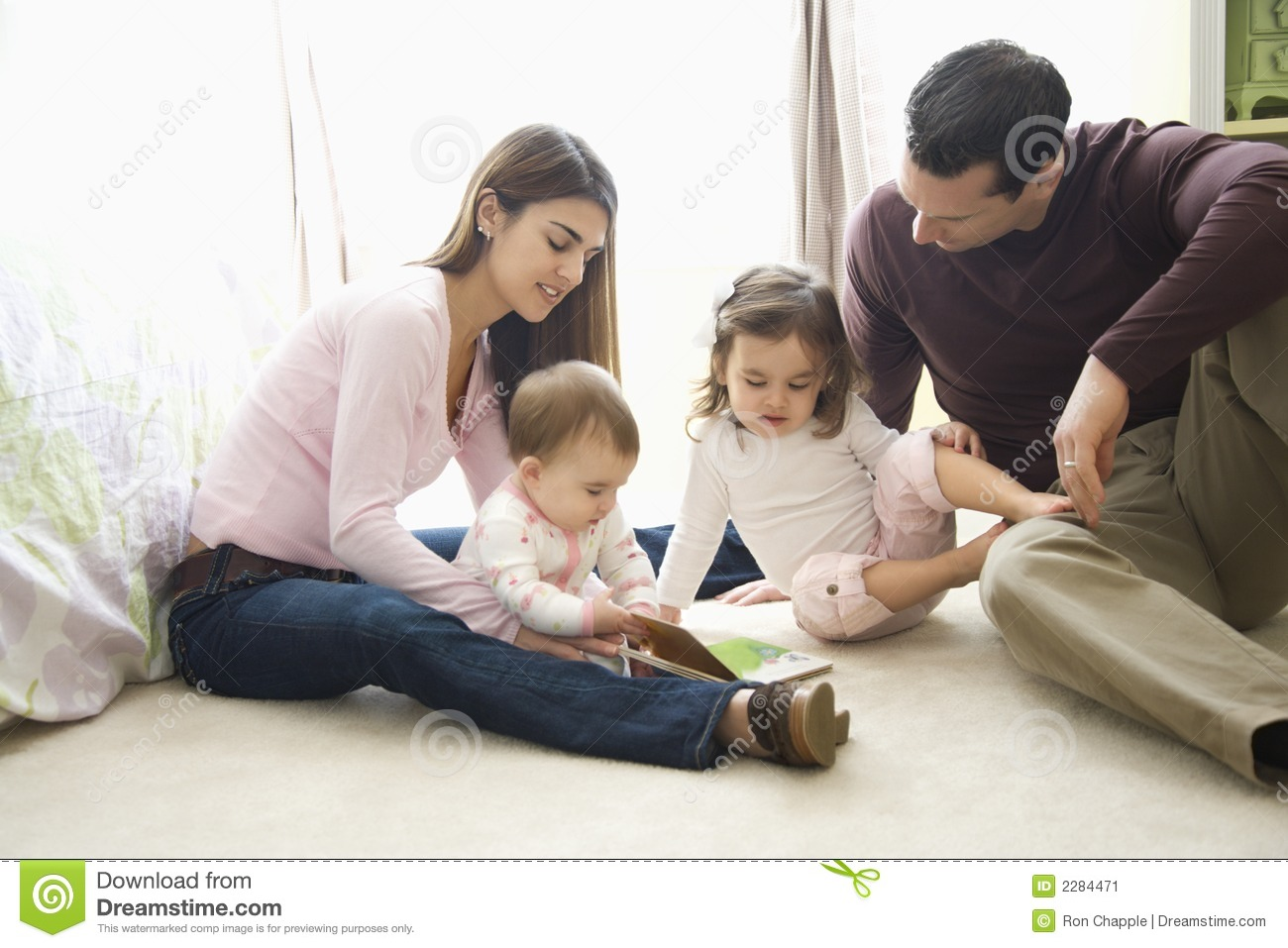 Girl Reading Book Wallpapers Parents And Children Stock Image Image 2284471