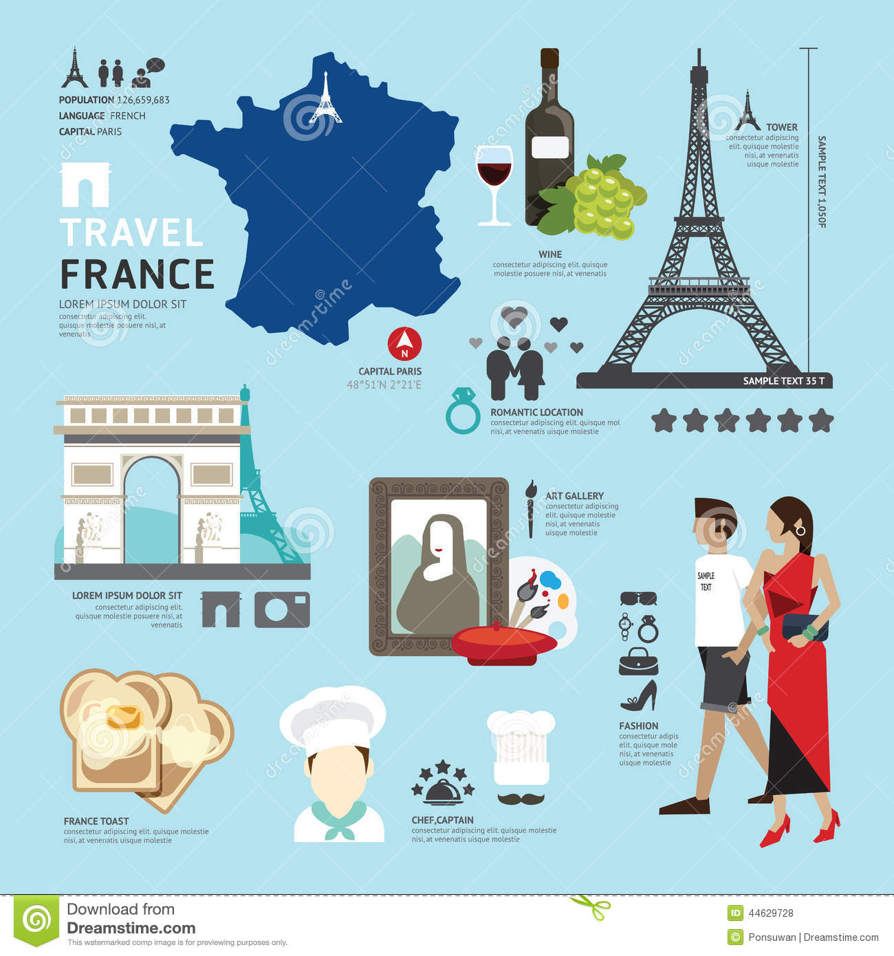 Design France Paris France Flat Icons Design Travel Concept Vector Stock