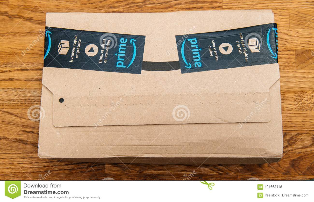 Amazon Usa Livraison France Amazon Prime Box On Wooden Background Editorial Stock Photo