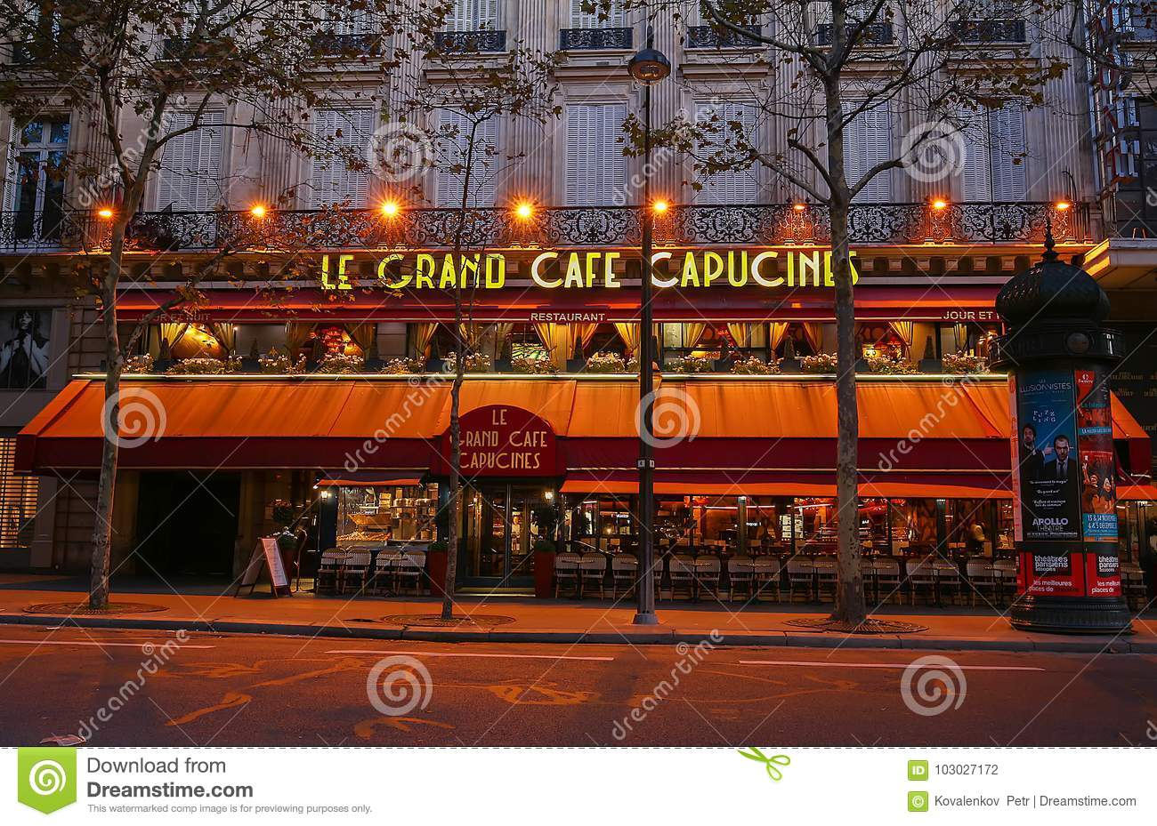 Café Des Capucines Paris The Famous Cafe Capucines Near Opera House Paris France