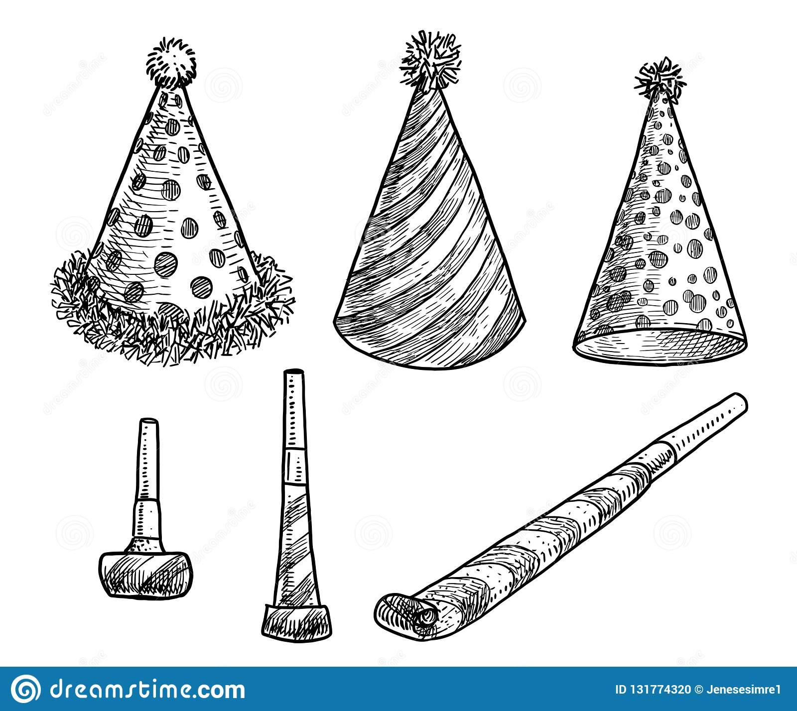 Party Hat Clipart Black And White Party Hat And Blower Whistle Illustration Drawing Engraving Ink
