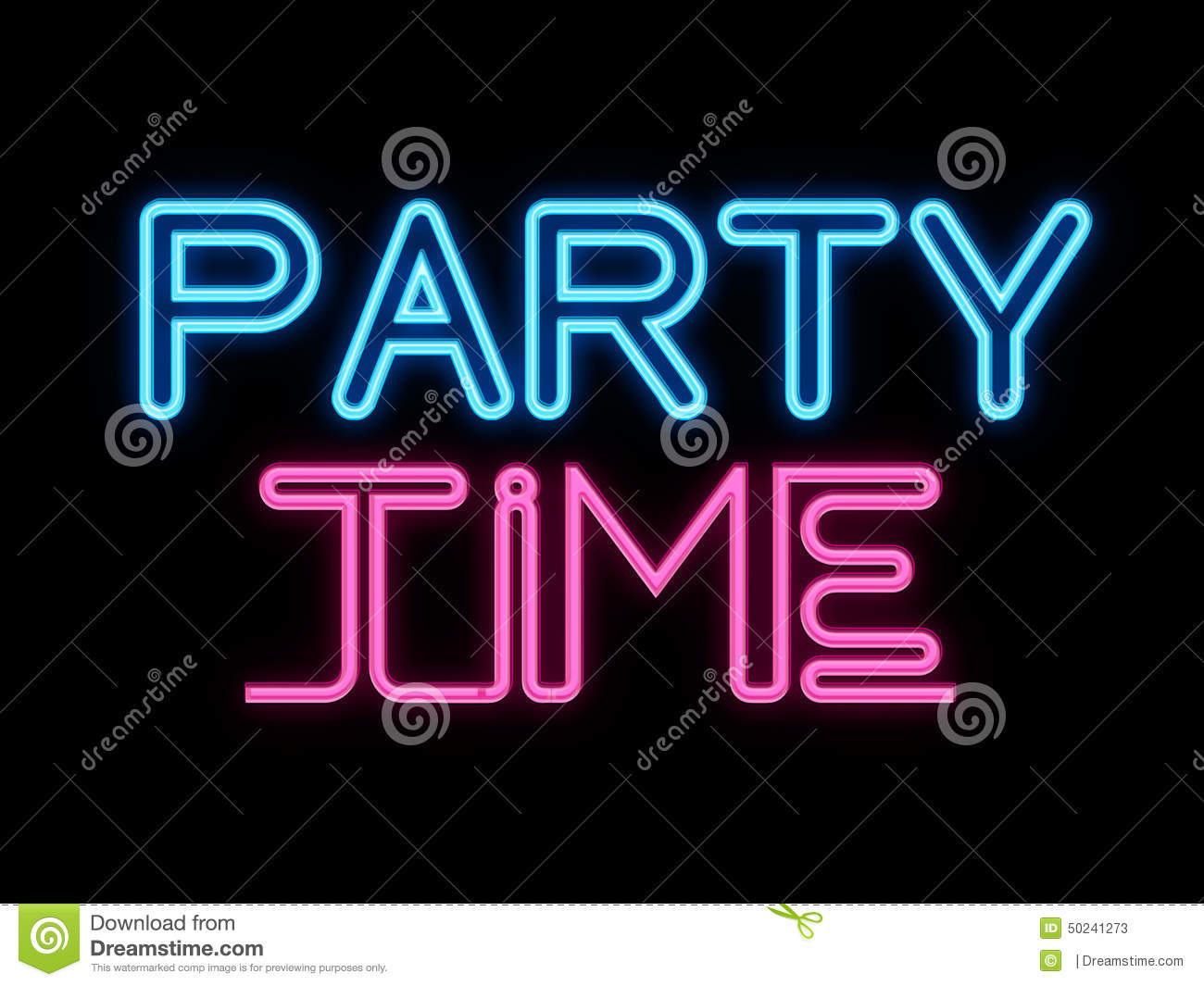 Party Time Party Time Neon Sign Stock Illustration Illustration Of Sign