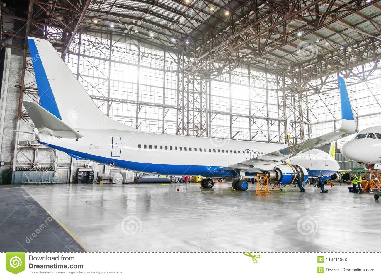 Airplane Maintenance Passenger Aircraft On Maintenance Of Engine And Fuselage Repair In