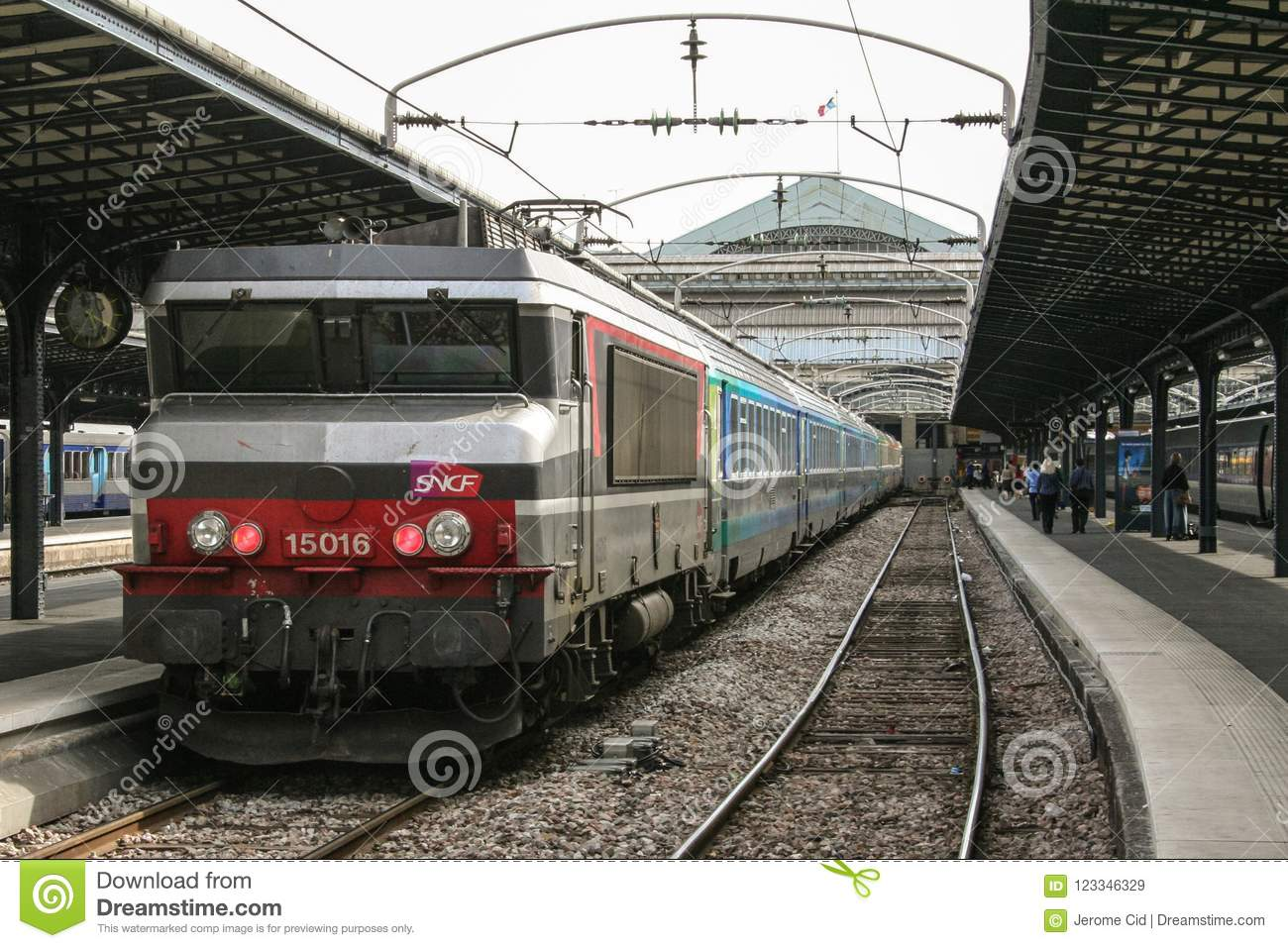 Gare Sncf Passenger Train Corail Intercites Ready For Departure In Paris